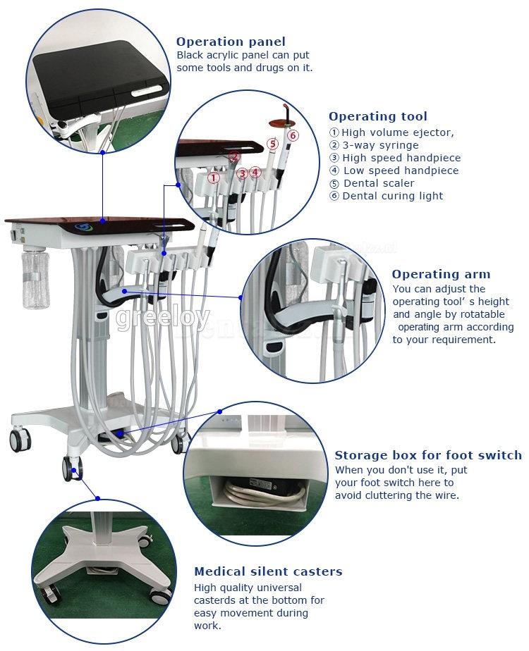 Greeloy GU-P302S Verstelbaar draagbaar mobiel tandheelkundig leveringsapparaat Eenheidsbehandelingssysteem